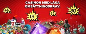 casinobonusar med låga omsättningskrav